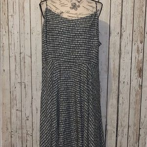Old Navy black & white print fit and flare dress